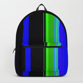 Black blue and green bold stripes Backpack