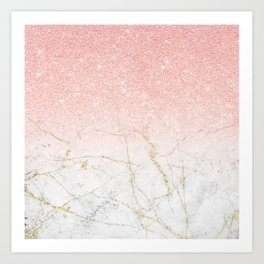 Rose Gold Glitter and gold white Marble Art Print
