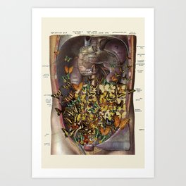 feeling fluttery anatomical collage by bedelgeuse Art Print