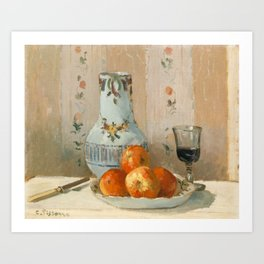 Camille Pissarro - Still Life with Apples and Pitcher,1872 Art Print
