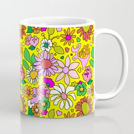 60's Lovers Floral in Sunshine Yellow Coffee Mug