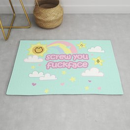 Screw You Fuckface! - with cuteness Rug