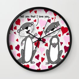 otter love for Valentine's Day Wall Clock