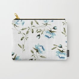 Peonies in White/Blue Carry-All Pouch