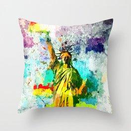 Statue of Liberty Grunge Throw Pillow
