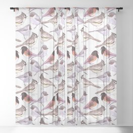 Wild birds in watercolor and pencil Sheer Curtain