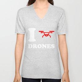 I Love Drones Unisex V-Neck