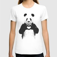 panda T-shirts featuring All you need is love by Balazs Solti
