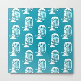 Tuba Pattern Turquoise Metal Print