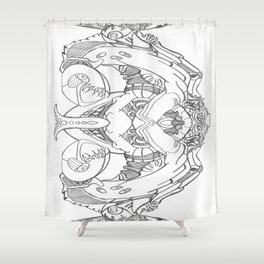 Twisted Moon Mod Shower Curtain