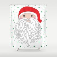 santa Shower Curtains featuring Santa by Doucette Designs