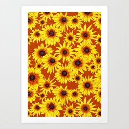 Yellow Flowers Pattern | Red Background Art Print