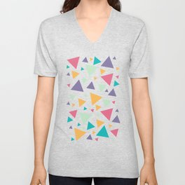 Memphis Milano style pattern with colorful triangles, multicolor triangle pattern print Unisex V-Neck