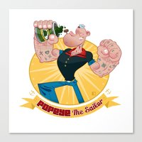 popeye Canvas Prints featuring popeye by spundman