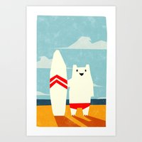 surf Art Prints featuring Surf! by Yetiland