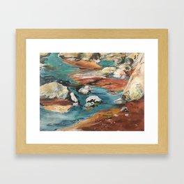 Water And Rock Expressionism Painting Framed Art Print