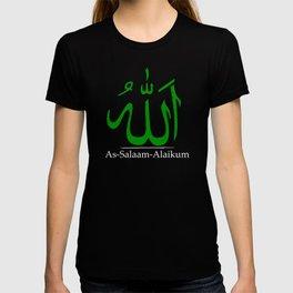 As-Salaam-Alaikum   'Allah' in Arabic calligraphy   Islamic green T-shirt