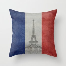 Eiffel tower with French flag Throw Pillow