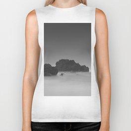 Modern Minimalist Black And White Bleak Landscape Foggy Clouds Biker Tank