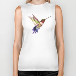 Hummingbird artwork, flying hummingbird Biker Tank