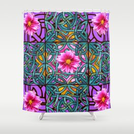 Lilac & Aqua Fuchsia Dahlias Inter-twining Art Nouveau Shower Curtain