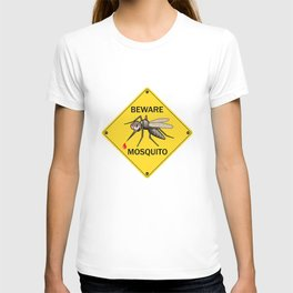 "Vector Sign: ""Beware Mosquito"". Vector Illustration for Insect Control Label. Angry Mosquito on Ye T-shirt"