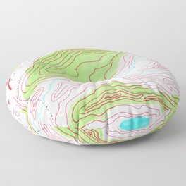 Let's go hiking - topographical map Floor Pillow