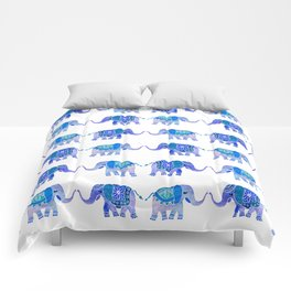HAPPY ELEPHANTS - WATERCOLOR BLUE PALETTE Comforters