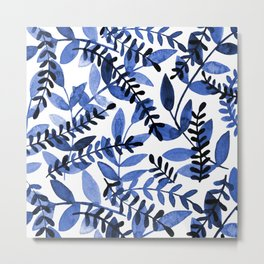 Watercolor branches - blue Metal Print