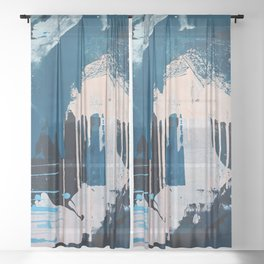 Solstice [2]: a pretty abstract painting in blue and white Sheer Curtain
