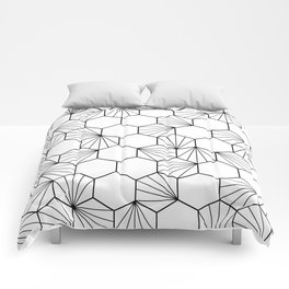 Peacock comb black white geometric pattern Comforters