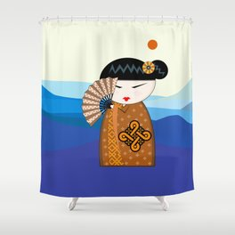 Brown Kokehi Shower Curtain