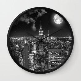 New York Under the Moon Wall Clock