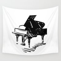 piano Wall Tapestries featuring Piano by Azure Cricket
