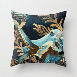 Indigo Octopus Throw Pillow