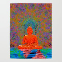 Cool Water Zen (Ultraviolet) (psychedelic, meditation) Poster