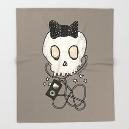 Girly Skull with Black Bow / Die for Music Throw Blanket