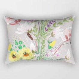 Floral On Icy Grey Rectangular Pillow