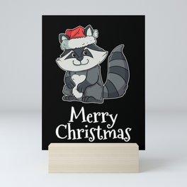 Merry Christmas Trash Panda Santas Hat Raccoon Mini Art Print