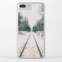 Train tracks in the winter Clear iPhone Case
