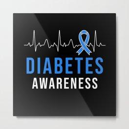 Diabetes Awarness Heartbeat Metal Print