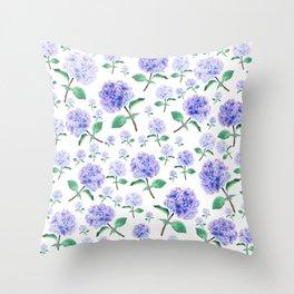 purple blue hydrangea pattern Throw Pillow