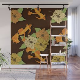 Night Time Goldfish Pond With Hibiscus Pattern Wall Mural