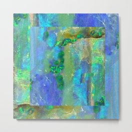 Blue-Aqua Opal Birthstone Inlay Abstract Metal Print