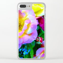 Rosa Yellow Roses on Black Clear iPhone Case