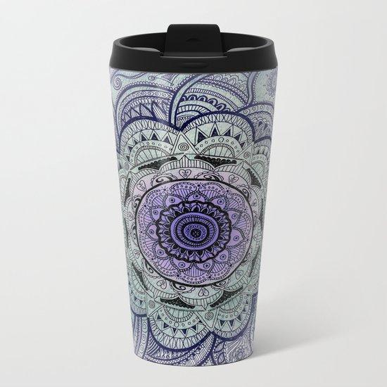 Mandala Purple Metal Travel Mug