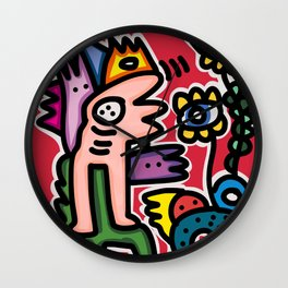 Spirits are talking with Eyed Flowers Street art Graffiti in Red Wall Clock