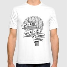 Look for the silver lining White Mens Fitted Tee MEDIUM