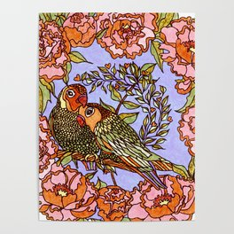 Lovebirds With Peony Wreath Poster
