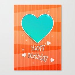 Birthstones December Blue Turquoise Heart Shaped Birthday Canvas Print